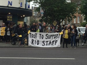 """Staff and their supporters on the picket line outside the RIo: """"We've really been given no option at all."""""""